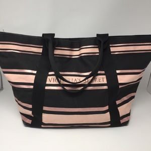 Victoria's Secret Striped Canvas Tote Bag